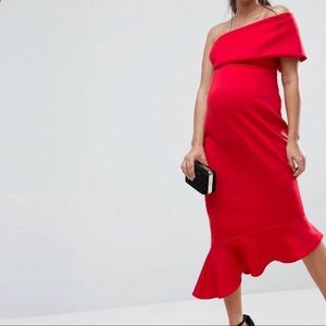 ASOS one shoulder scuba maternity dress